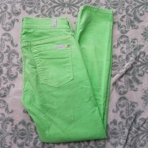 7 FOR ALL MANKIND Lime Green Cropped Skinny Jeans